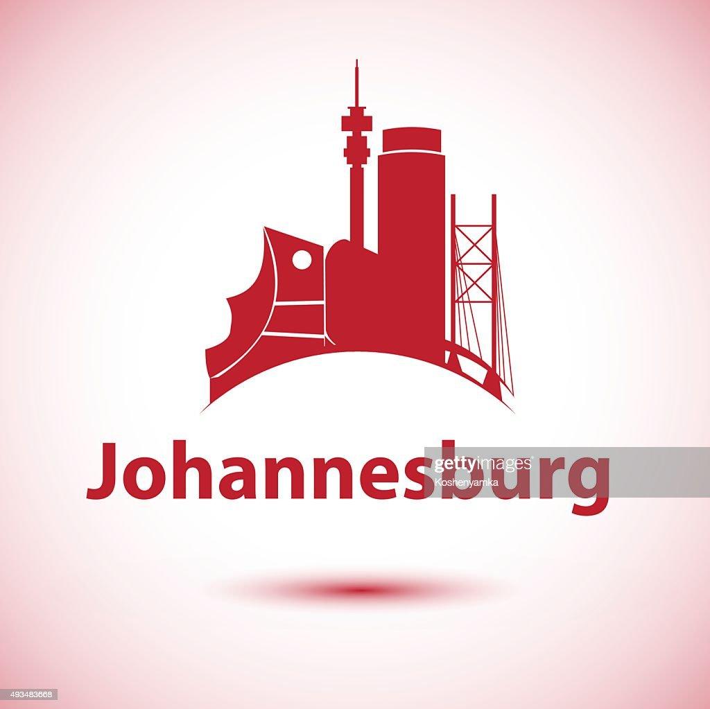 Johannesburg South Africa city skyline silhouette.