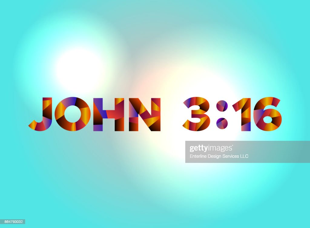John 3:16 Concept Colorful Word Art Illustration