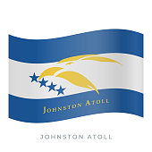 Johnston Atoll waving flag vector icon. Vector illustration isolated on white.