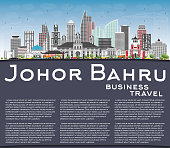 Johor Bahru Malaysia Skyline with Gray Buildings, Blue Sky and Copy Space.
