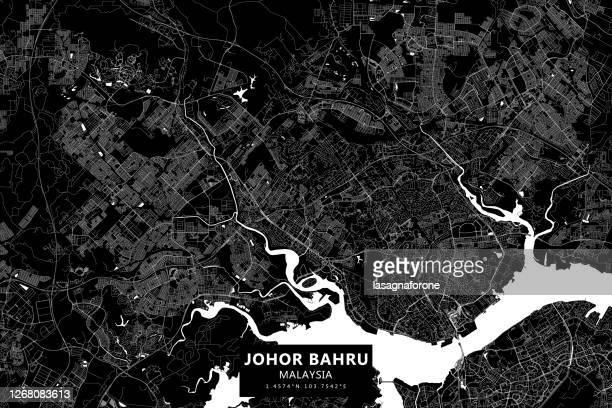 ジョホールバル, マレーシア ベクターマップ - シンガポール国旗点のイラスト素材/クリップアート素材/マンガ素材/アイコン素材