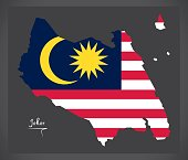 Johor Malaysia map with Malaysian national flag illustration