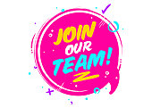 Join Our Team. Vector Icon Isolated on White. Pink Rounded Sign with Geometric Elements. Job Vacancy. We are Hiring Badge. Business Recruiting Concept. Flat Speech Bubble.