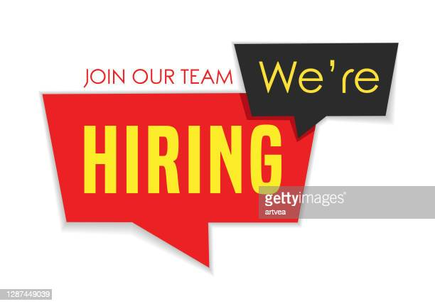 join our team, we are hiring - help wanted sign stock illustrations