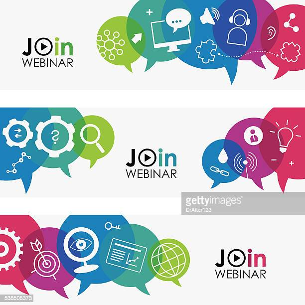 join webinar banners - interactivity stock illustrations, clip art, cartoons, & icons