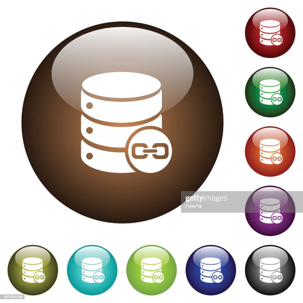 Joined database tables color glass buttons