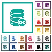 Joined database tables flat color icons with quadrant frames