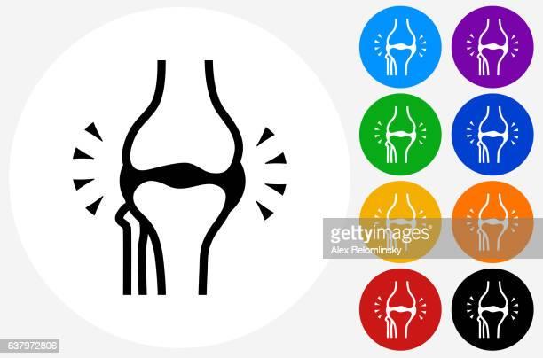 ilustrações, clipart, desenhos animados e ícones de joint icon on flat color circle buttons - articulação humana