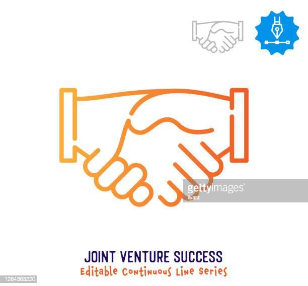 illustrations, cliparts, dessins animés et icônes de icône de course modifiable en ligne continue de joint-venture - partenariat