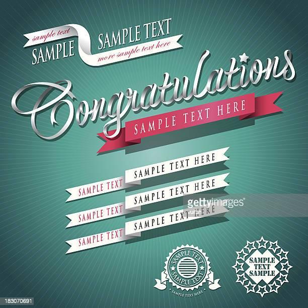 ilustraciones, imágenes clip art, dibujos animados e iconos de stock de escritura conjunto de cinta error tipográfico felicitaciones 02 - felicitar