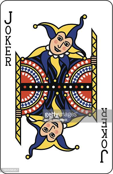 joker blue playing card - jester's hat stock illustrations, clip art, cartoons, & icons