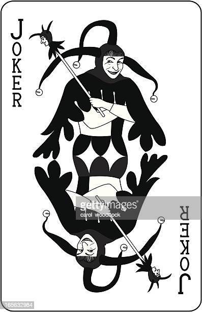 joker playing card black - joker card stock illustrations, clip art, cartoons, & icons