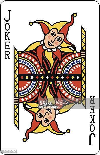 joker playing card - jester's hat stock illustrations, clip art, cartoons, & icons
