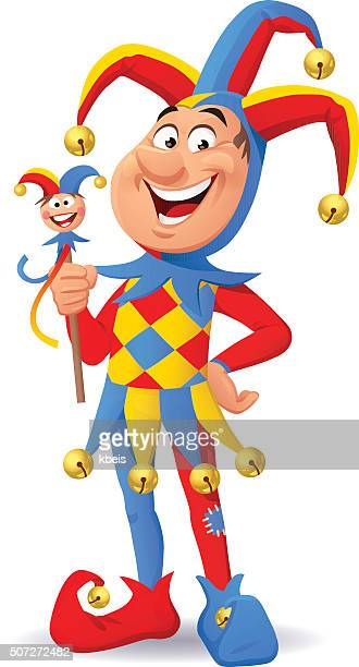 jolly jester - jester's hat stock illustrations, clip art, cartoons, & icons