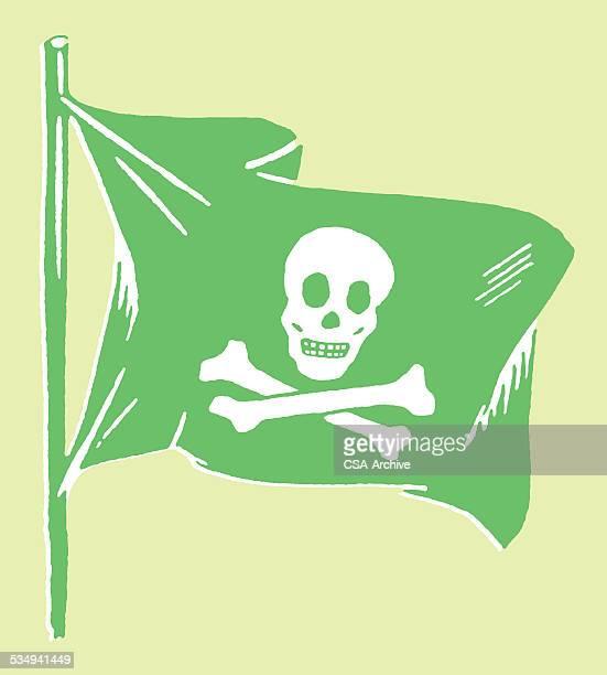 ジョリーロジャーフラグ - 海賊旗点のイラスト素材/クリップアート素材/マンガ素材/アイコン素材