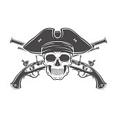 Jolly Roger skull template. death t-shirt design. Musket insignia