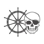 Jolly Roger with eyepatch. Evil skull vector. Dark t-shirt