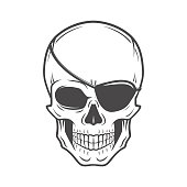 Jolly Roger with eyepatch logo template. Pirate insignia concept