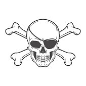 Jolly Roger with eyepatch skull vector. Pirate insignia concept