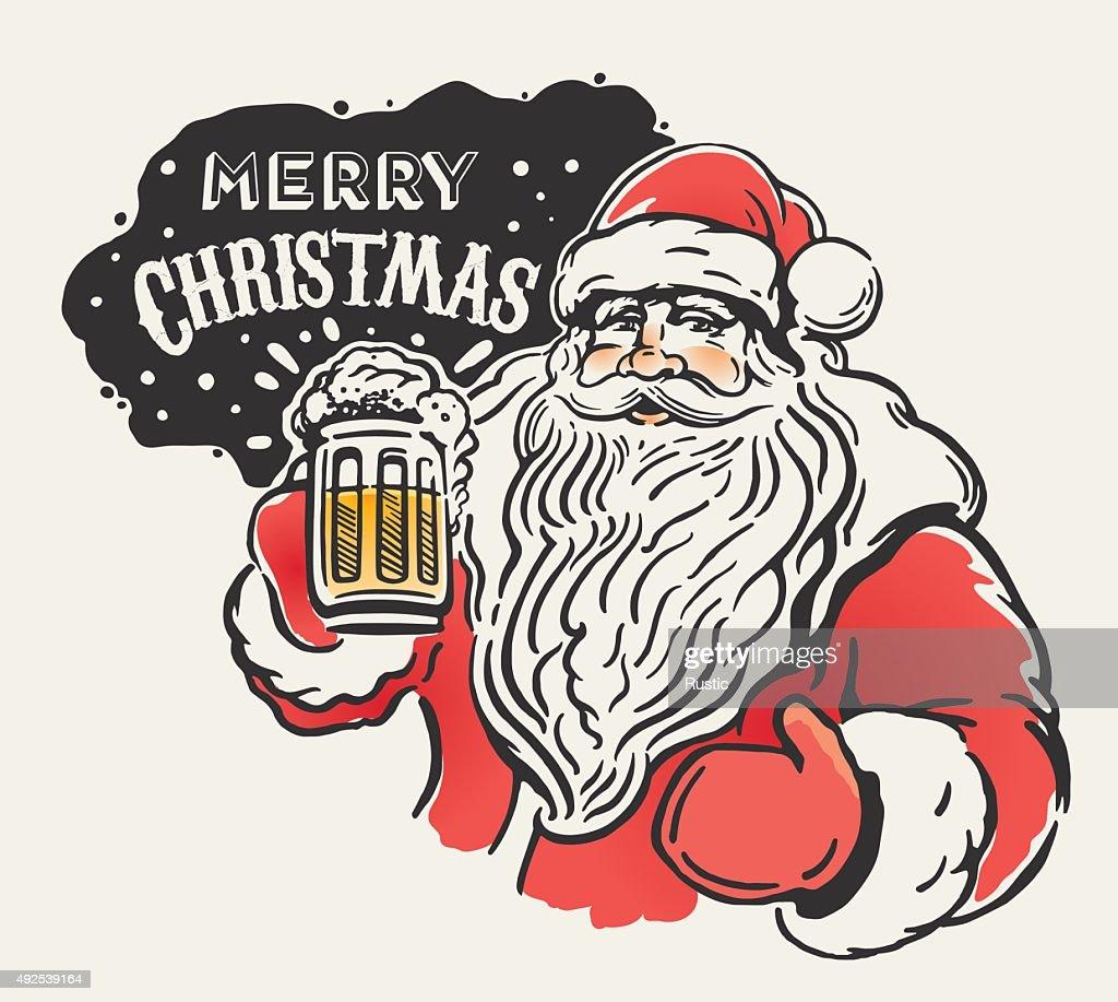 Jolly Santa and beer.