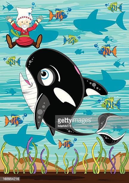 jonah and the whale biblical scene - killer whale stock illustrations, clip art, cartoons, & icons