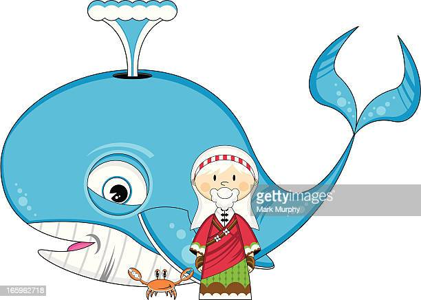 jonah and whale with cute crab - blue whale stock illustrations, clip art, cartoons, & icons