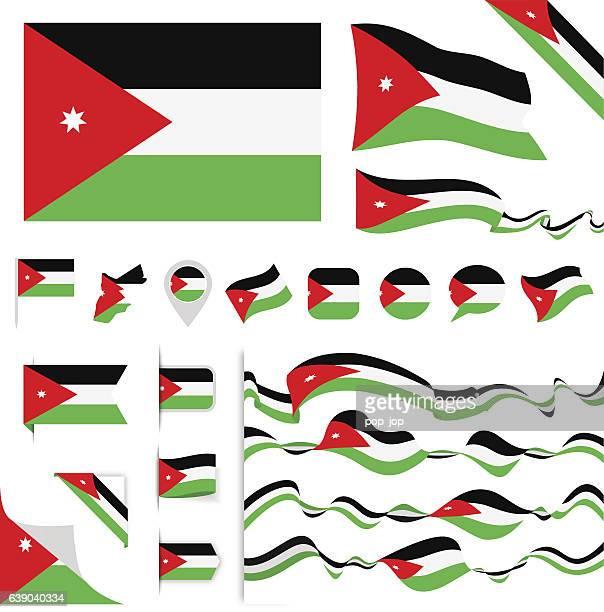 jordan flag set - jordan middle east stock illustrations, clip art, cartoons, & icons