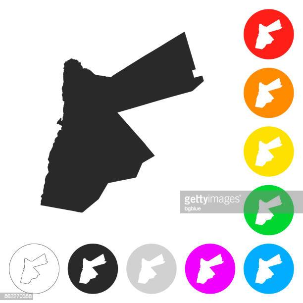 jordan map - flat icons on different color buttons - jordan middle east stock illustrations, clip art, cartoons, & icons