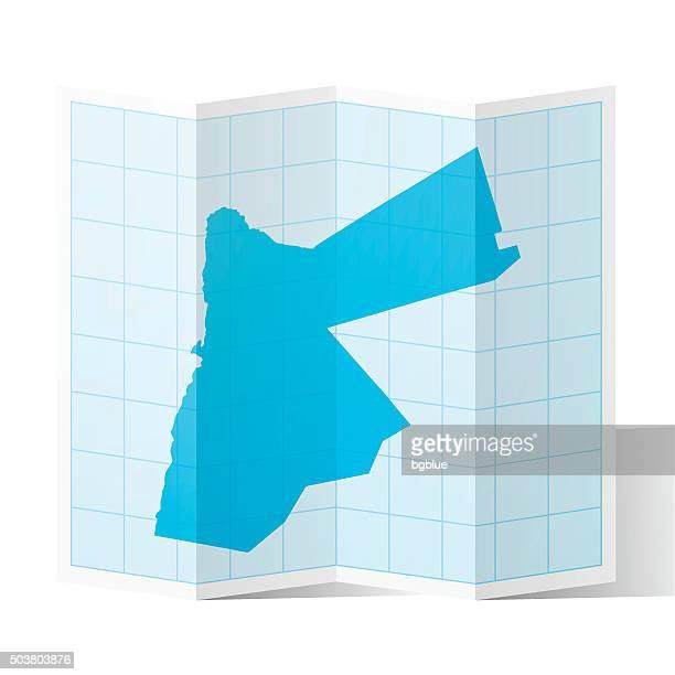 Jordan Map folded, isolated on white Background
