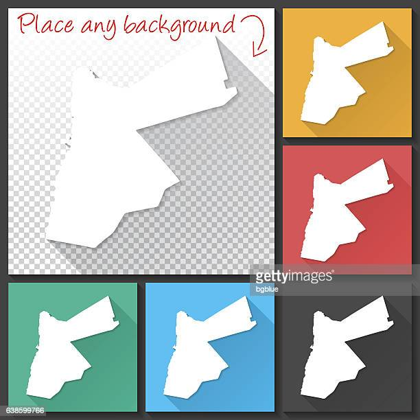 Jordan Map for design, Long Shadow, Flat Design