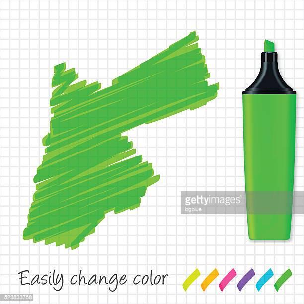 Jordan map hand drawn on grid paper, green highlighter