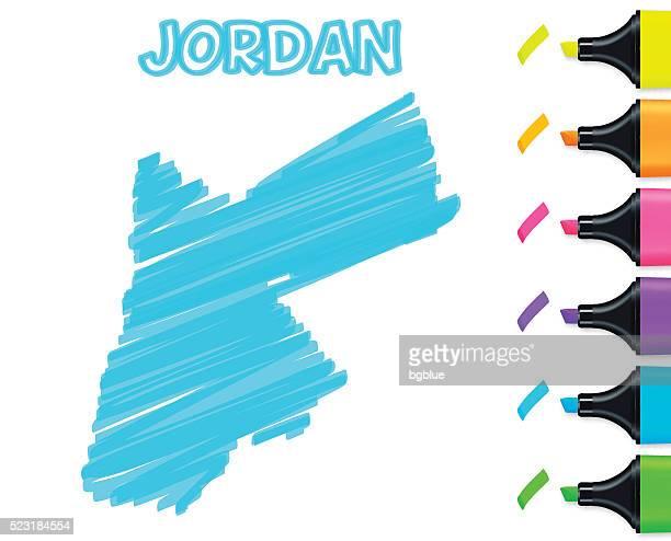 Jordan map hand drawn on white background, blue highlighter