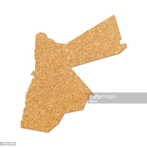 jordan map in cork board texture on white background - jordan middle east stock illustrations, clip art, cartoons, & icons