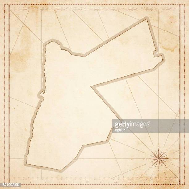 jordan map in retro vintage style - old textured paper - jordan middle east stock illustrations, clip art, cartoons, & icons