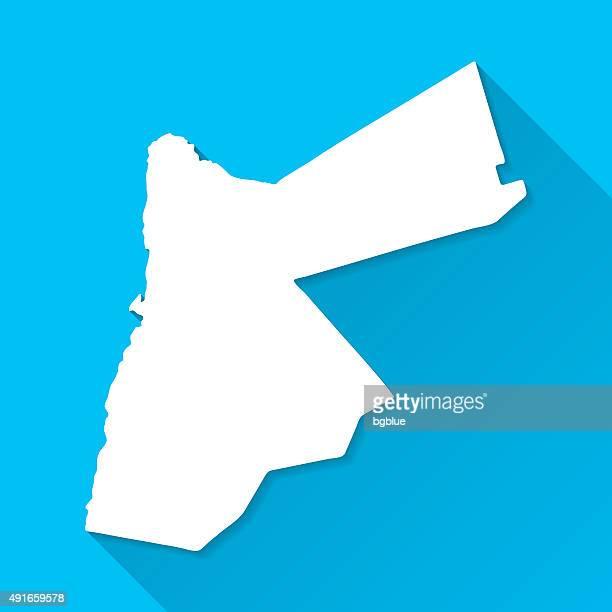 Jordan Map on Blue Background, Long Shadow, Flat Design