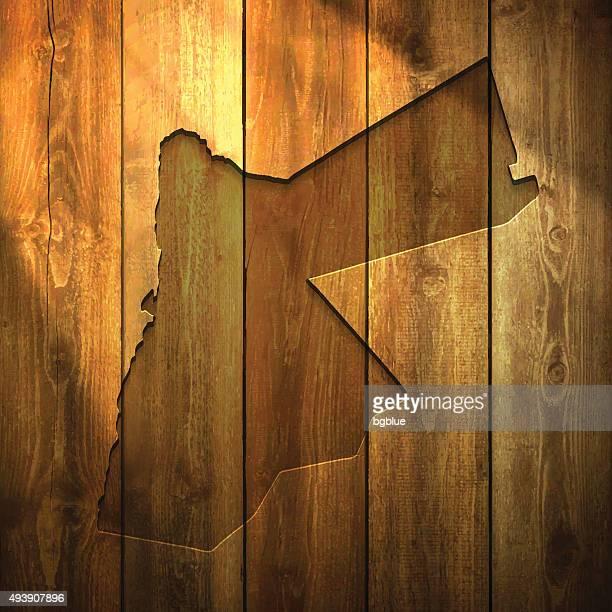 Jordan Map on lit Wooden Background