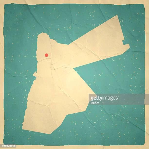 jordan map on old paper - vintage texture - jordan middle east stock illustrations, clip art, cartoons, & icons