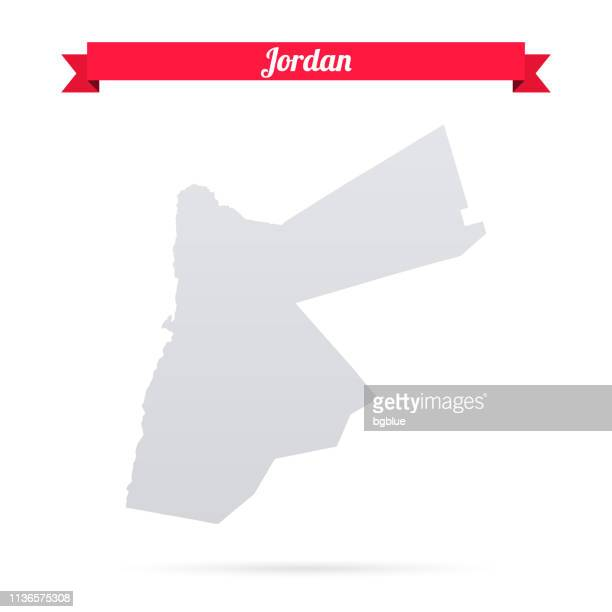 jordan map on white background with red banner - jordan middle east stock illustrations, clip art, cartoons, & icons