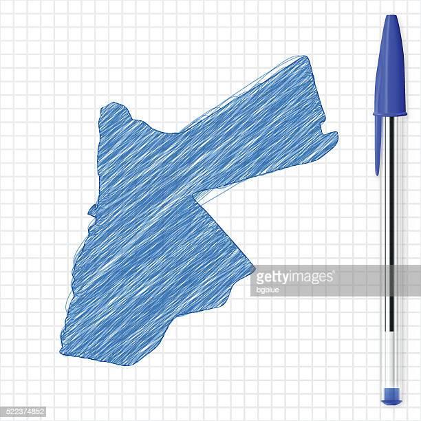 Jordan map sketch on grid paper, blue pen