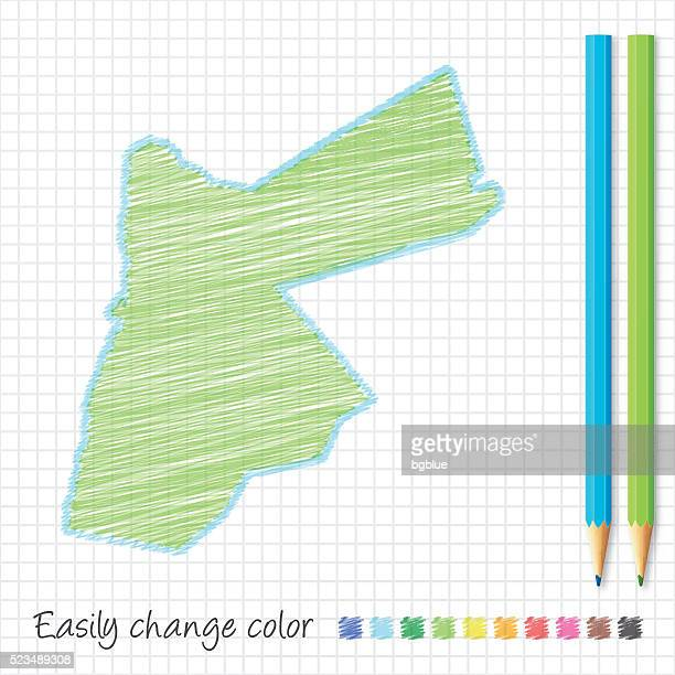 Jordan map sketch with color pencils, on grid paper
