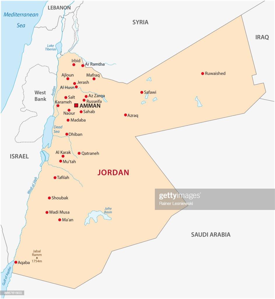 Jordanien Karte.Jordanien Karte Vektorgrafik Getty Images