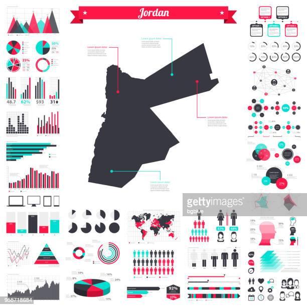 jordan map with infographic elements - big creative graphic set - jordan middle east stock illustrations, clip art, cartoons, & icons
