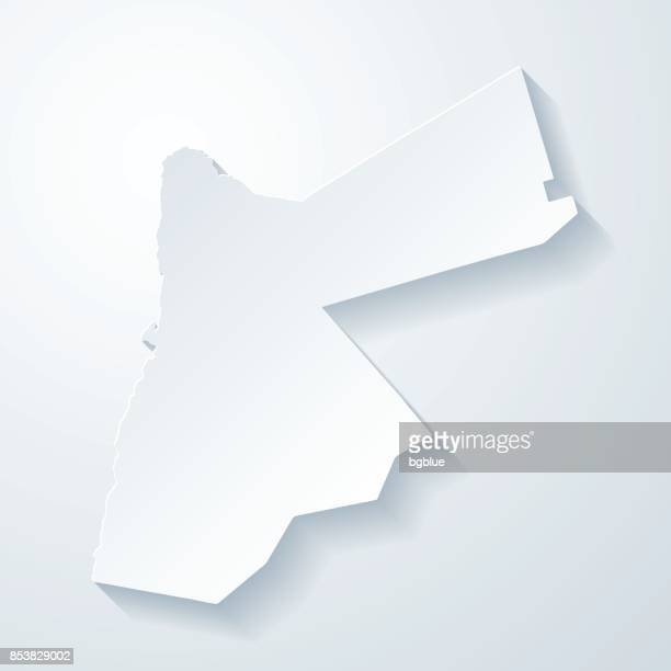 jordan map with paper cut effect on blank background - jordan middle east stock illustrations, clip art, cartoons, & icons