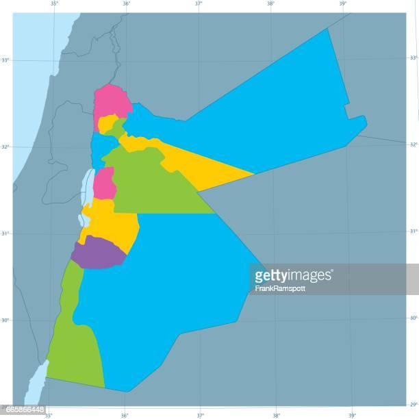 Jordanien-Vektor Karte bunt Administrative Abteilungen