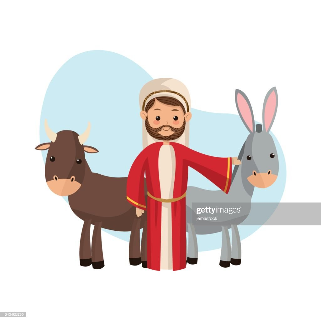 Joseph and farm animals icon. Merry Christmas design. Vector gra