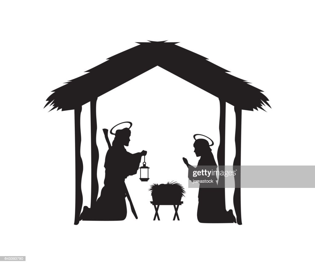 Joseph, maria and jesus icon. Merry Christmas design. Vector gra