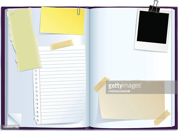 journal spread - paper clip stock illustrations, clip art, cartoons, & icons