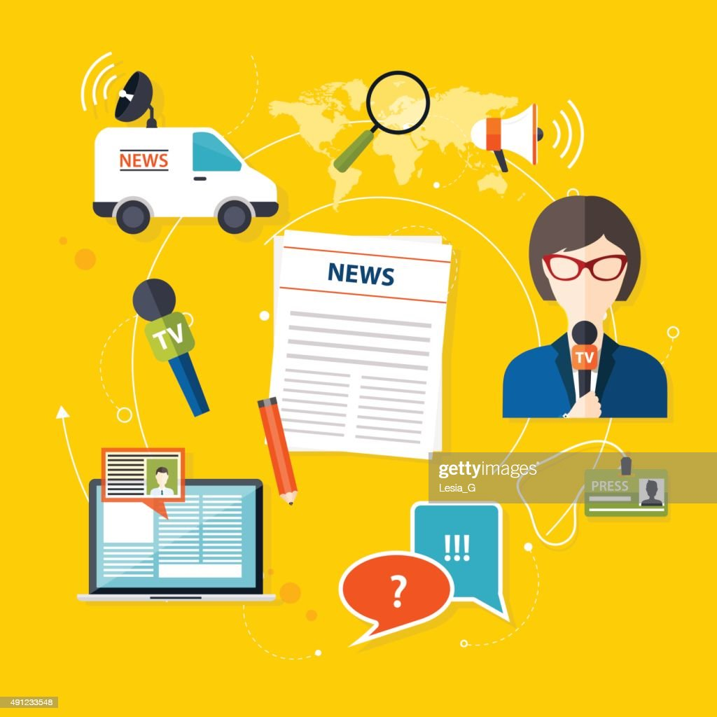 Journalism press news reporter. Set of vector journalism icons i
