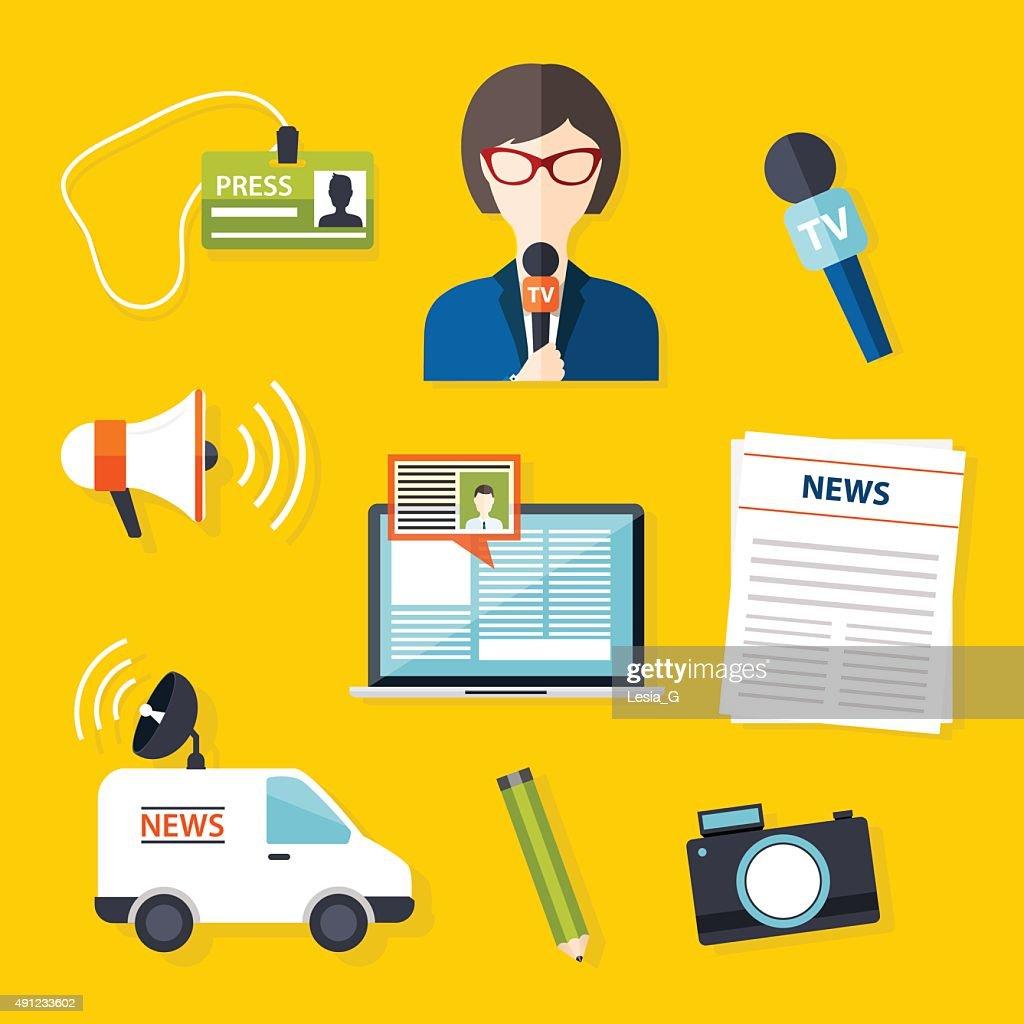 Journalism press news reporter. Set of vector journalism icons i