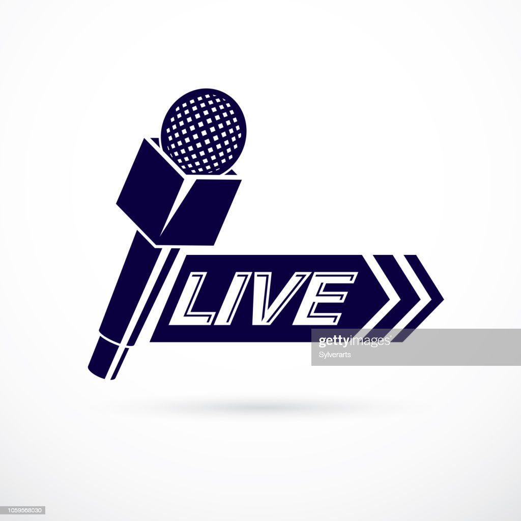 Journalism theme vector symbol created with microphone illustration and composed with live inscription. Social mass media theme.